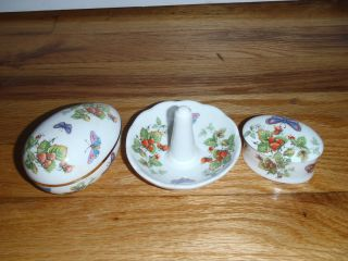 Crownford Bone China Butterfly design Ring Holder Trinket Box and Egg