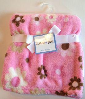 New Cutie Pie Baby Blanket Pink with Flowers 30x30 Cuddle Fleece