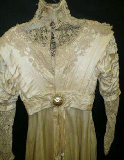 Orig Vtg Edwardian Titanic Era 1915 Satin Lovely Trim Lace Wedding