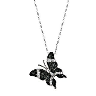 Silver Black CZ Cubic Zirconia Butterfly Charm Pendant Necklace 18
