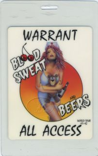 laminated backstage pass WARRANT 1991 92 BLOOD SWEAT AND BEERS TOUR
