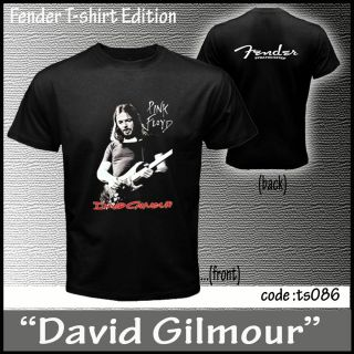 New David Gilmour Pink Floyd Fender CD DVD 2 Sides Black T Shirts Size
