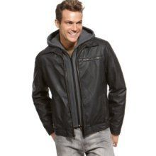 Buffalo David Bitton Mens Faux Leather Bomber Hoodie Jacket Black XXL