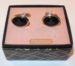 MASONS MASONIC 14K GOLD PLATED BLUE LUCITE CUFFLINKS CUFF LINKS IN BOX