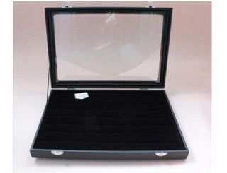49 Pair Cufflinks Storage Case Display Box Black Wood