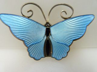 Vintage DA David Anderson Norway Blue Enamel Sterling Silver Butterfly