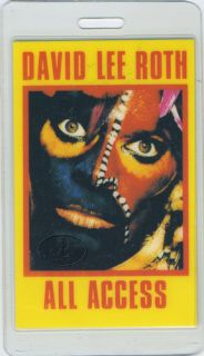 David Lee Roth 1986 Laminated Backstage Pass Van Halen