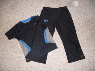 Nike Fit Dry Black Yoga Athletic Polyester Capris & Mesh Back Shirt