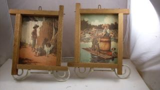 TWO VINTAGE PRINTS IN RUSTIC WOODEN FRAMES SIGNED BY JIM DALY