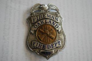 Vintage Oakland California Fireman Badge Firefighter Fire Department