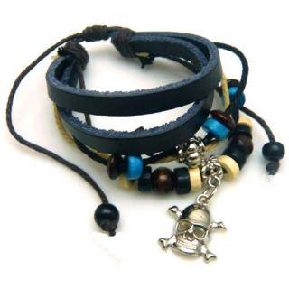 DAVID BECKHAM Style 6 layer fashion unisex bracelet with skull charm
