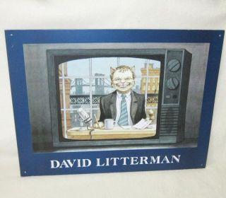 Hall Of Fame David Litterman Metal Tin Sign Letterman Feline 16 x 12