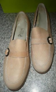 Womens Vtg 70s Taupe Circle Skirt Dress Leather Slip on Shoes 9 New
