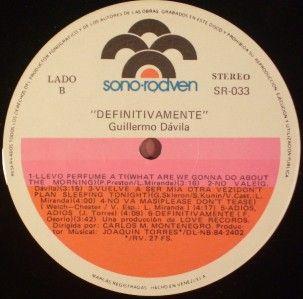 Guillermo Davila Definiivamene Sono Rodven 1984 RARE