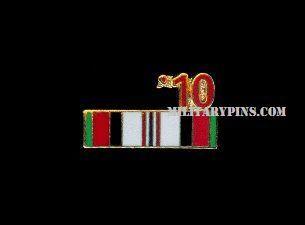 Military Afghan Vet 10 Service Ribbon Lapel Hat Pin