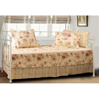 Reversible Quilted 5pc Set Daybed Bedding Warm Ecru Gold Red