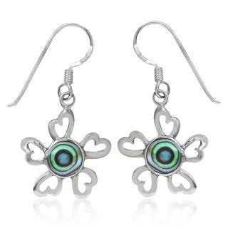 Abalone/Paua Shell 925 Sterling Silver Flower Dangle Earrings
