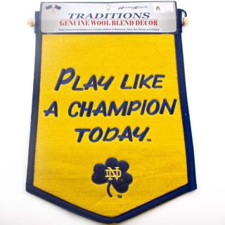 Notre Dame Fighting Irish Play Like A Champion Banner Wool Flag 12 x