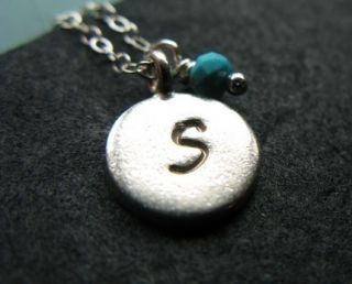 Custom SS Sterling Hand Stamped Disc Initial Necklace
