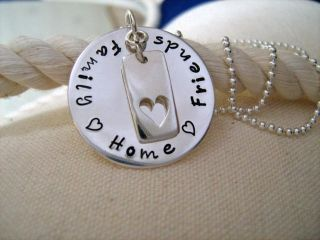 Hand Stamped Sterling Silver Necklace Personalized Family Friends