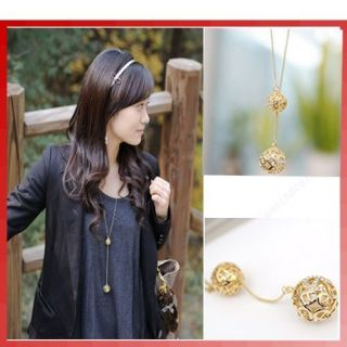 Two Hollow Ball Crystal Pendants Long Necklace Chain Gift