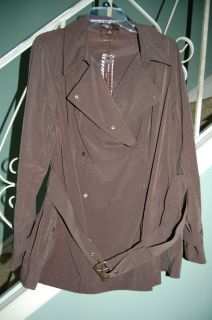 Womans 2X Dana Buchman Brown Trench Coat Jacket Belted Snap $100
