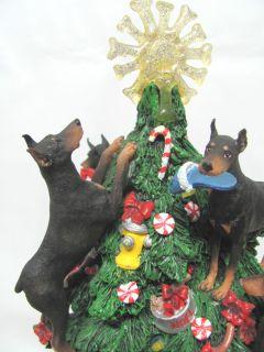 Danbury Mint Doberman Pinscher Dog Lighted Christmas Tree B T and Red