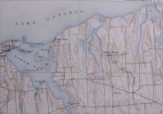 1908 ANTIQUE TOPOGRAPHIC MAP SODUS BAY, LAKE ONTARIO, NEW YORK NY