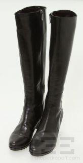 Pas de Rouge Black Leather Knee High Side Zipper Heel Boots Size 40 5