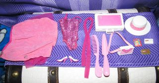1984 Day to Night Barbie Doll Lot Pink White Heels Hat Purse Skirt