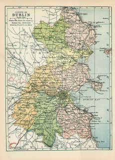 County Dublin Ireland Authentic Antique Map Genuine 113 Years Old Made