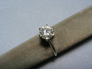 CZ Cubic Zirconia Solitaire Ring 1 5 Carat 6 Prong 14K White Gold
