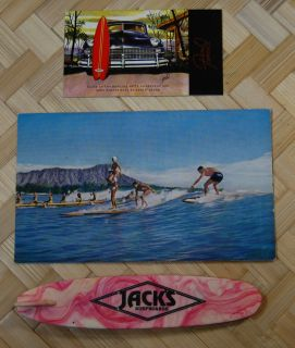 Surfing Postcard Wood Surfboards United Airlines Dean Torrence