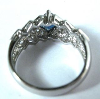 Sterling Silver Rhodium Plated Sapphire CZ Ring 9 ¼