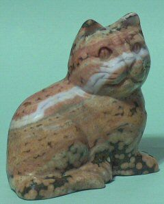 large stone carved pink ocean jasper cat statue this is a darling