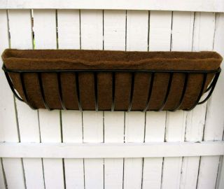 Iron Window Box Deck Planter 44 w Coco Fiber Liner