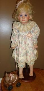 Janet Ness Porcelain Collector Doll Darcy Rabbit Pull Toy 1992 Edition