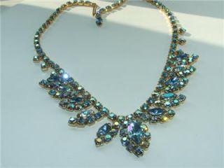Vintage Juliana style blue Aurora Borealis rhinestone bib necklace