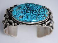 Navajo Darryl Becenti Sterling Silver Kingman Birds Eye Turquoise Cuff