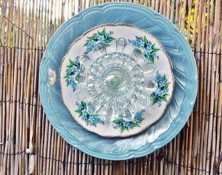 FLOWER Garden Yard Art Blue Glass Plate Flower Garden Decor Suncatcher
