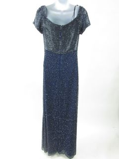 Sean Collection Blue Beaded Short Sleeve Long Gown Sz M