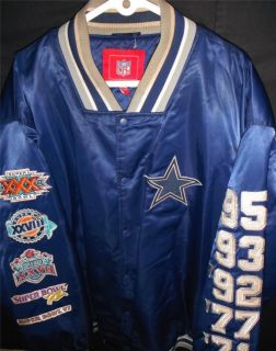 Mens 4XL Vtg Sewn Dallas Cowboys NFL Jacket Bomber Nylon Satin Coat