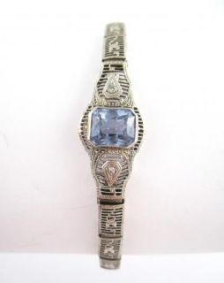 Vintage 1920s Art Deco White Gold Diamond Aquamarine Filigree Bracelet