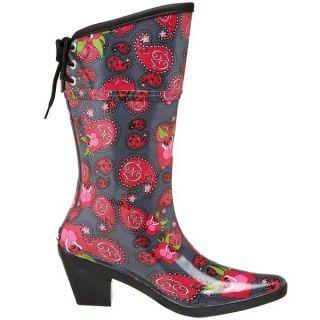 78 NWOB DAV RUBBER RAINBOOTS PAISLEY ROSE GRAY WESTERN COWBOY BOOTS SZ