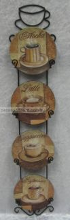 Coffee Mini Display Plates in Wall Rack Latte Mocha