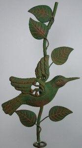 Vintage Style Metal Garden Stake Rain Gauge with Hummingbird