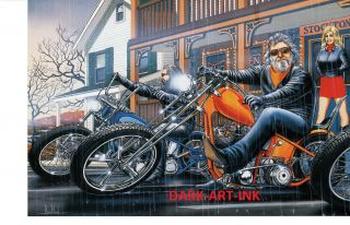 David Mann Art Stockton Inn Print Easyriders Harley Davidson HD H D