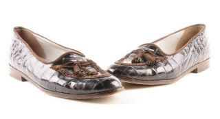 Joan David Handmade Brown Patent Croc Loafers Shoes