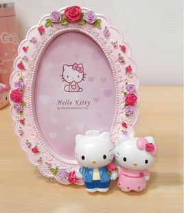 Hello Kitty Dear Daniel PINK Color OVAL Shape with Rose Pattern Photo