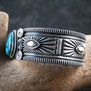 Navajo Delbert Gordon Sterling Silver Morenci Turquoise Cuff